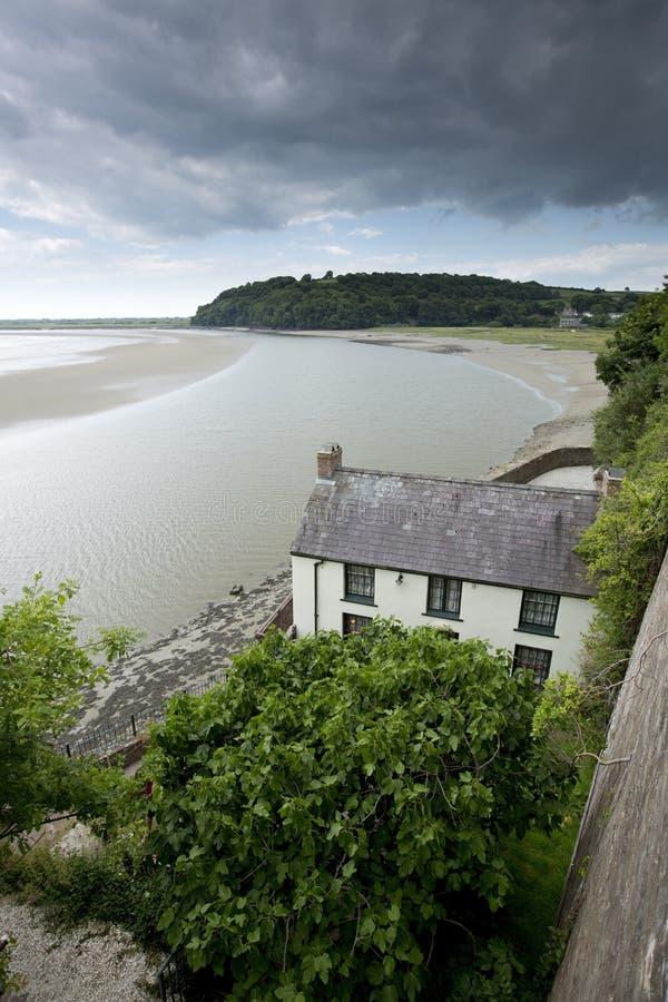Laugharne, Gales, Reino Unido, em julho de 2014, uma vista do estaleiro de Dylan Thomas fotos de stock royalty free