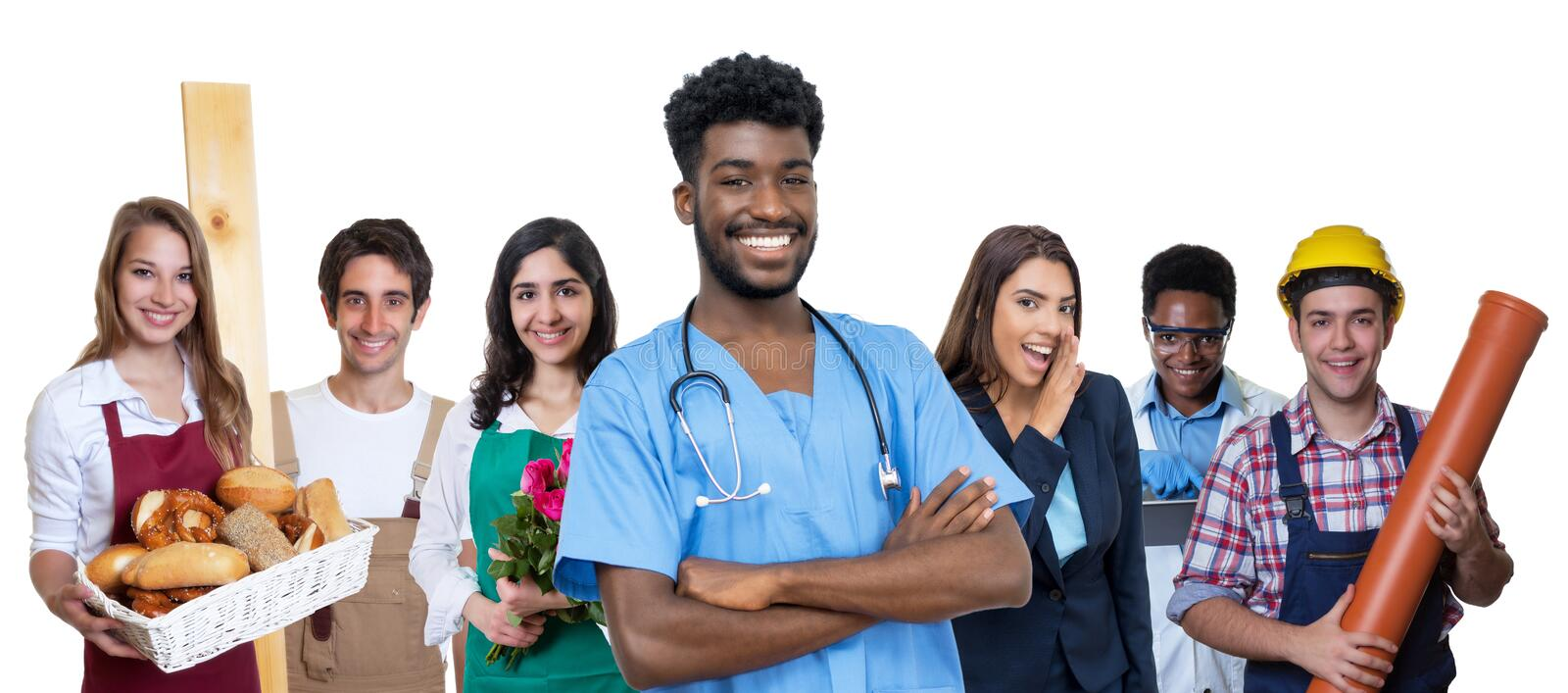 Laughing african american male nurse with group of international apprentices royalty free stock photography