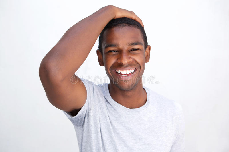 Laughing african american man stock photos