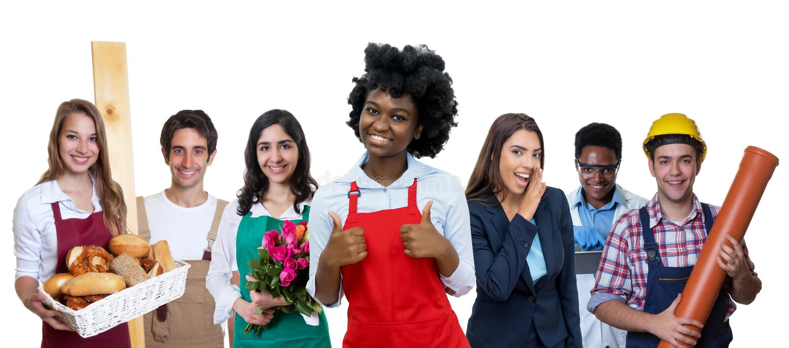 Laughing african american waitress with group of international apprentices stock photos