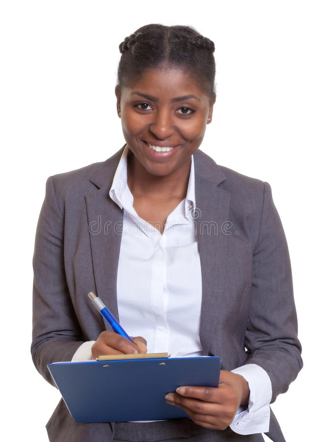 Laughing African business woman with clipboard. On an isolated white background for cut out stock images