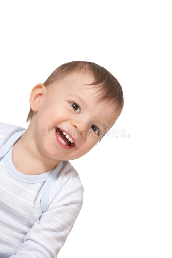 Laughing baby. On white background stock photos
