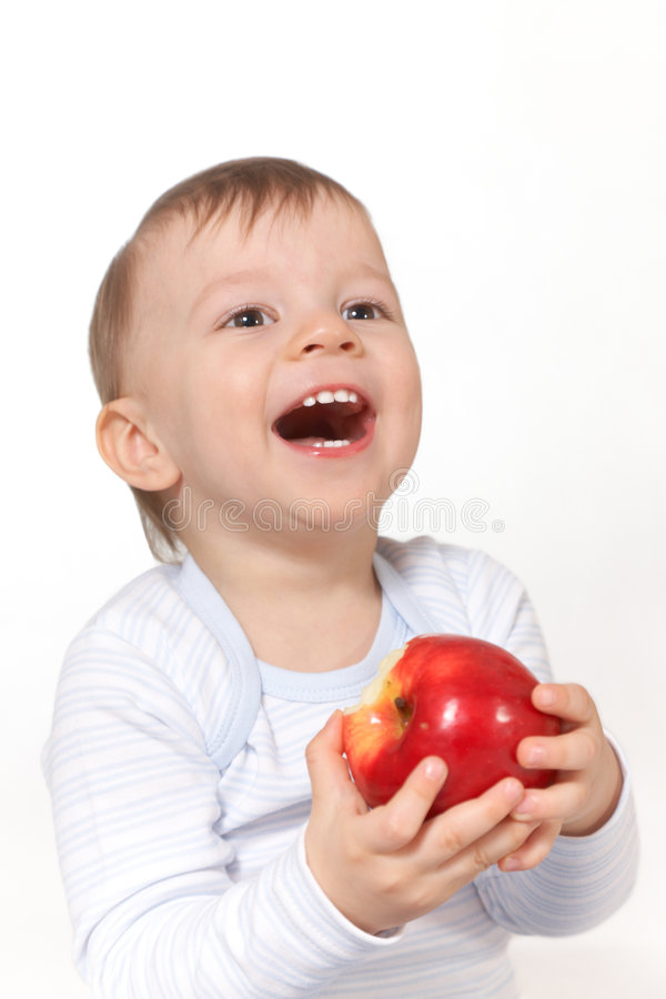 Download Laughing Baby With Red Apple Stock Image - Image of fruits, beauty: 7906111