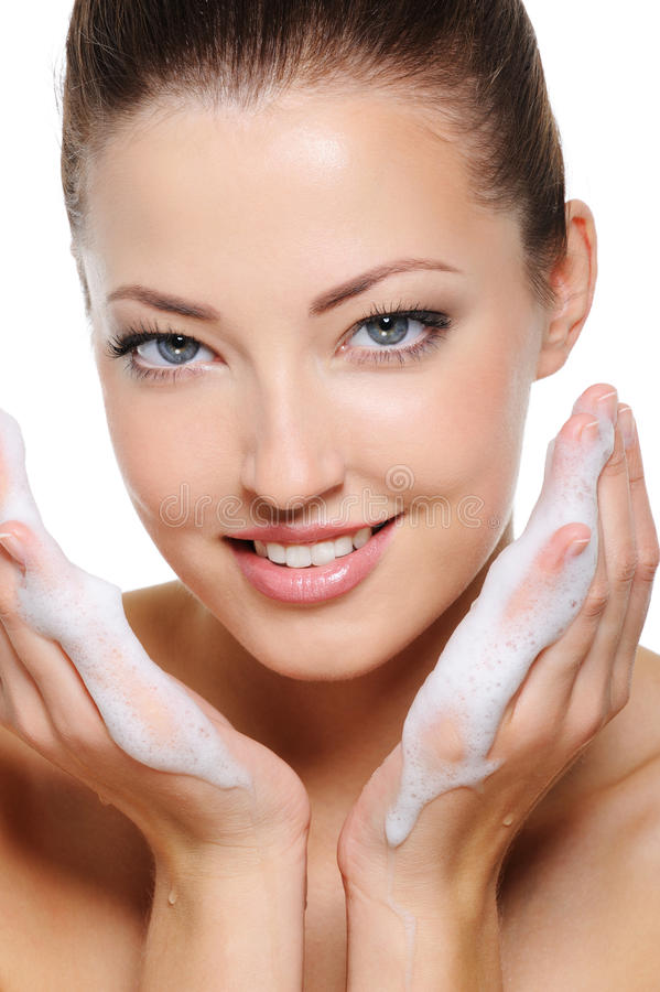 Download Laughing Beautiful Woman With Foam In Her Hands Royalty Free Stock Image - Image: 11136066