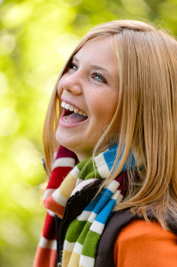 Download Laughing Blonde Young Girl Nature Carefree Autumn Stock Photo - Image: 33546872