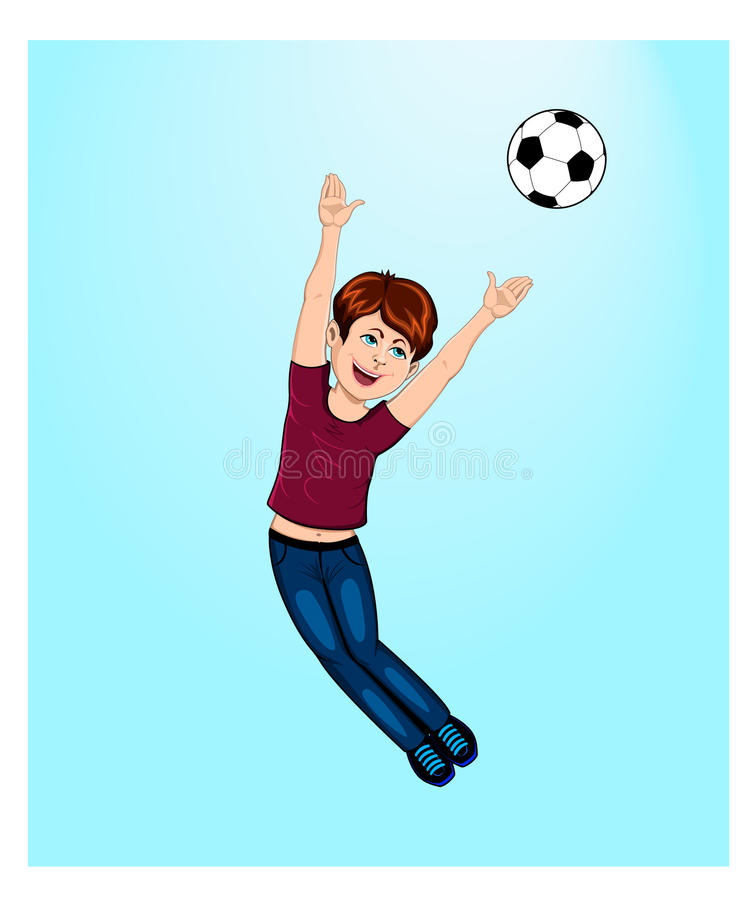 Boy playing with a ball stock illustration