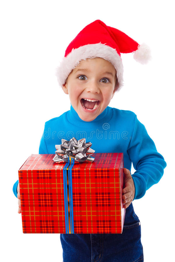 Download Laughing Boy In Santa Hat With Red Box Stock Image - Image: 21851139
