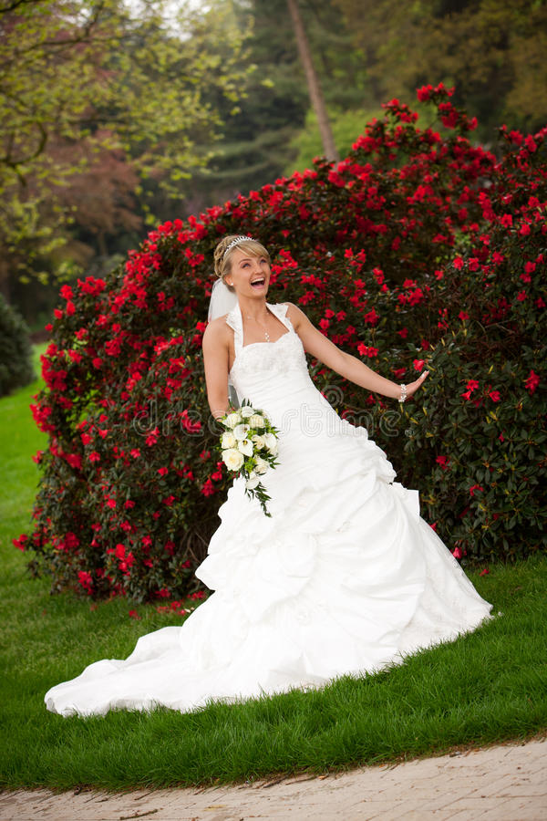 Download Laughing Bride Funny Red Roses Stock Photo - Image: 25129866