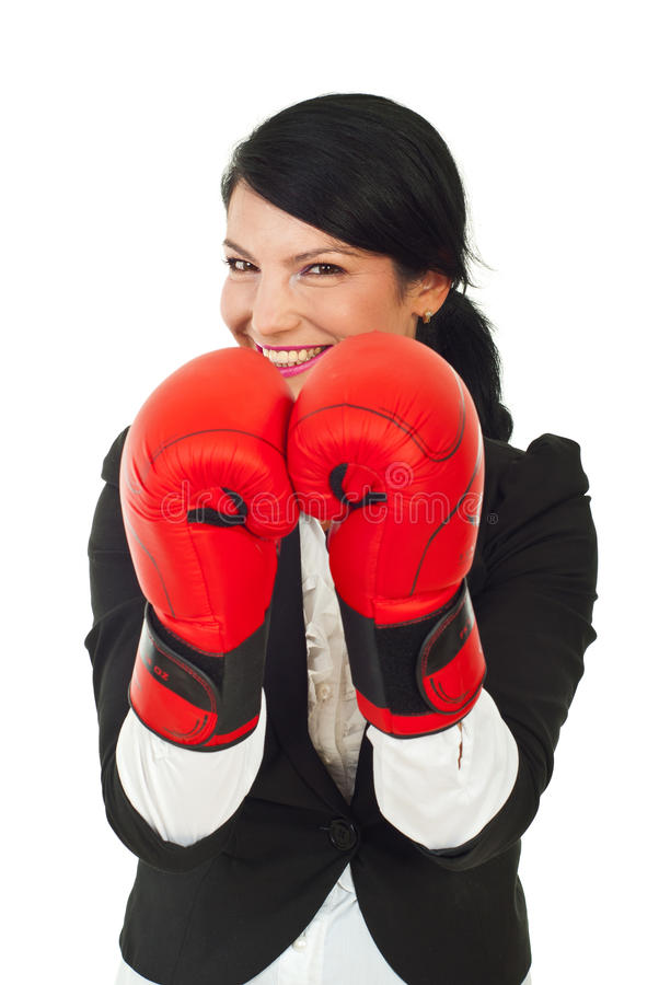 Download Laughing Business Woman With Boxing Gloves Stock Photo - Image of expression, attractive: 20574238
