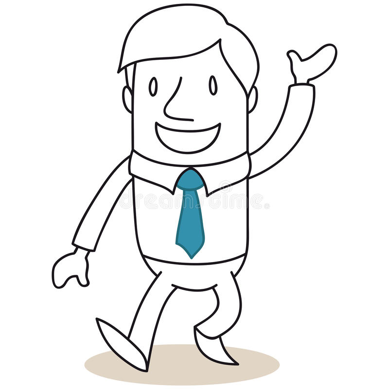 Laughing businessman walking and greeting stock illustration