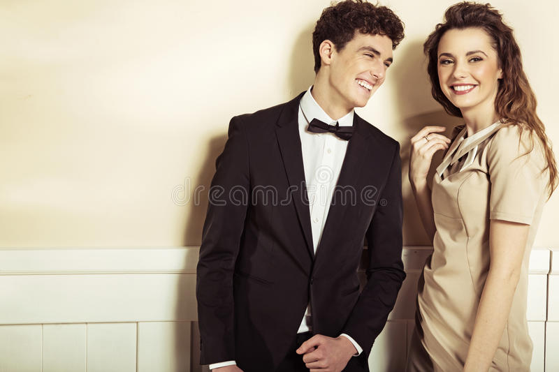 Laughing calm couple with great smiles royalty free stock images