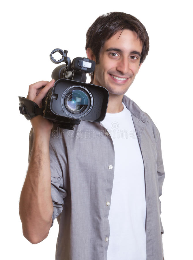 Laughing cameraman. On an isolated white background for cut out stock photos