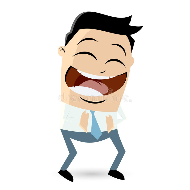 Laughing cartoon businessman royalty free illustration