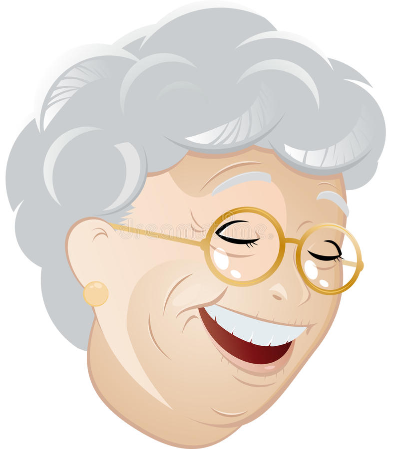 Laughing Cartoon Grandma Royalty Free Stock Images
