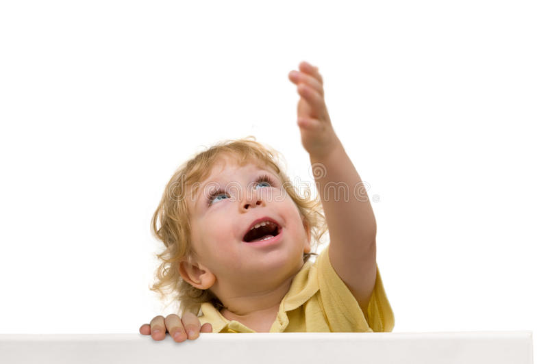 Laughing child looking up royalty free stock image