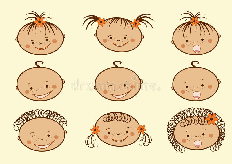 Download Laughing Children's Faces. Set. Stock Vector - Image: 11685671