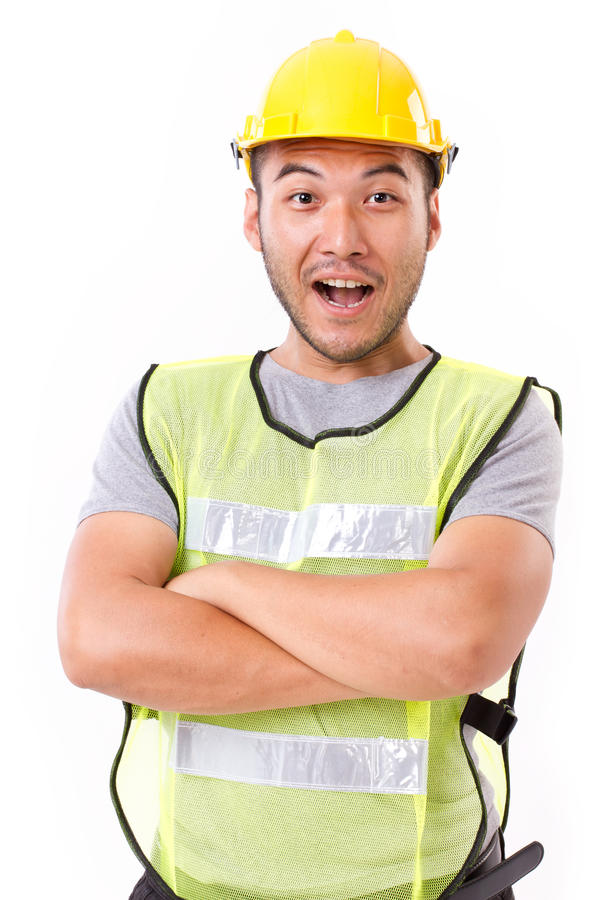Laughing, confident, strong construction worker stock photo