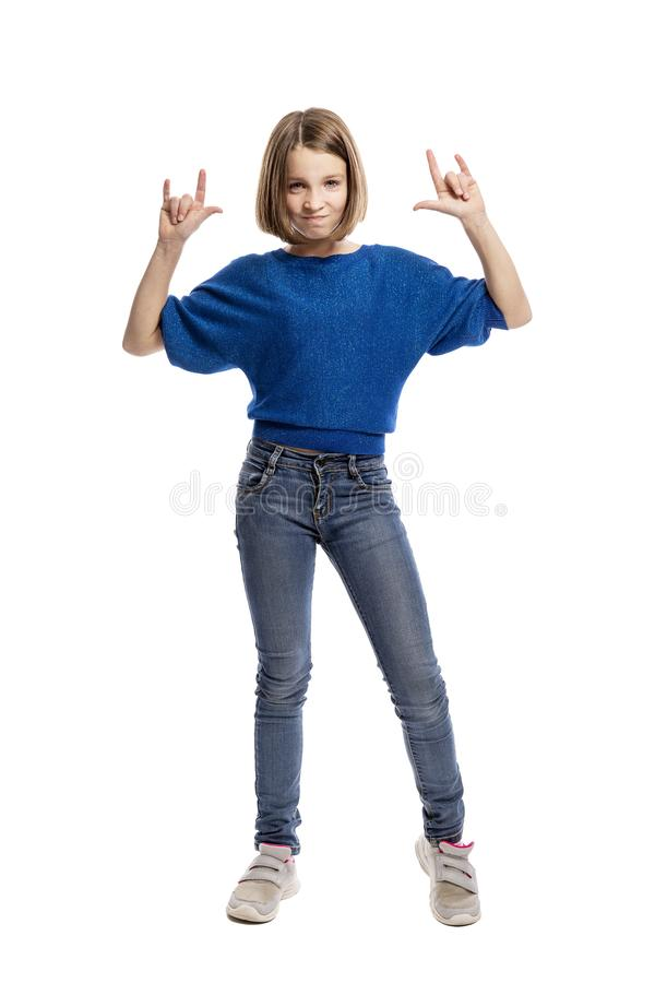 Laughing cool teen girl, full length. Isolated on white background stock photography