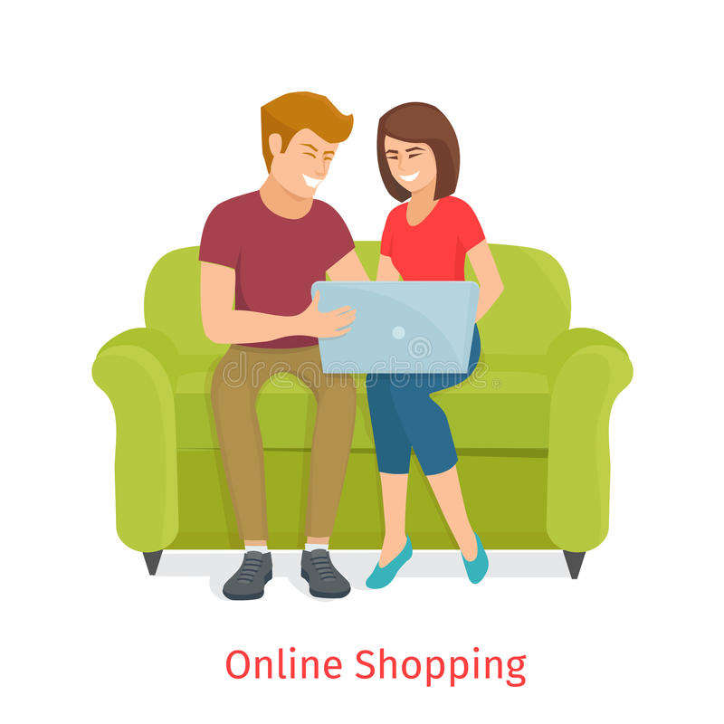 Laughing couple browsing the internet at the laptop stock illustration
