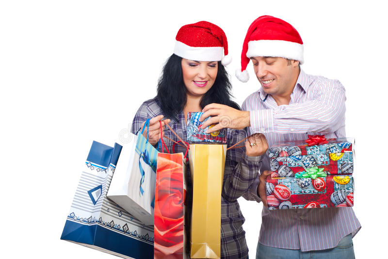 Download Laughing Couple Have Fun With Christmas Presents Stock Photo - Image: 16569982
