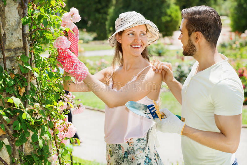 Laughing couple working in garden. Laughing happy couple working in the flower garden stock image