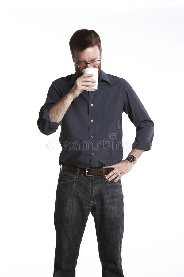 Download Laughing into cup stock photo. Image of bitter, jeans - 16784862