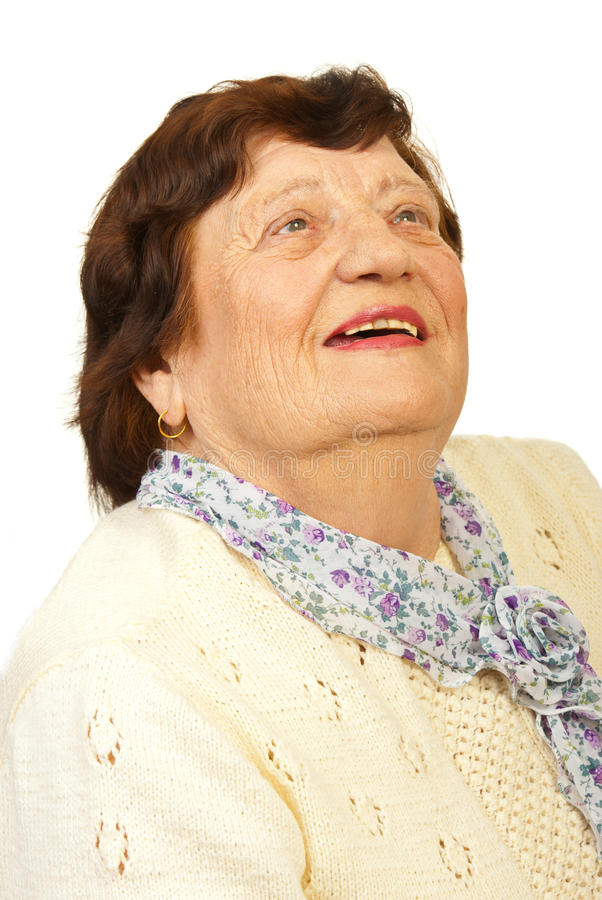 Laughing elderly looking up royalty free stock photo
