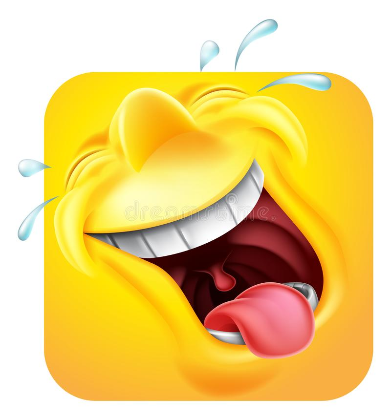 Laughing Emoji Emoticon Icon 3D Cartoon Character. A laughing happy emoji or emoticon square face 3d icon cartoon characterr vector illustration