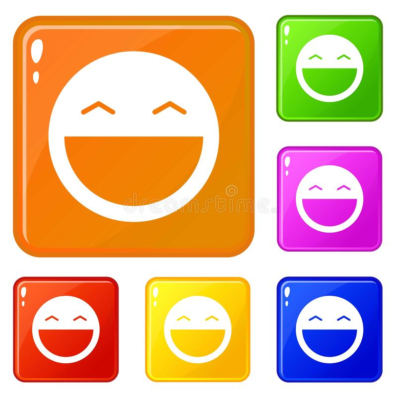 Laughing emoticons set vector color vector illustration