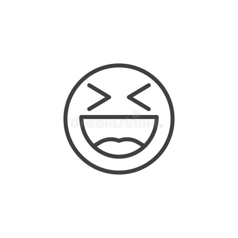 Laughing face emoji line icon. Happy smiley linear style sign for mobile concept and web design. Smiling Face With Open Mouth emoticon outline vector icon stock illustration