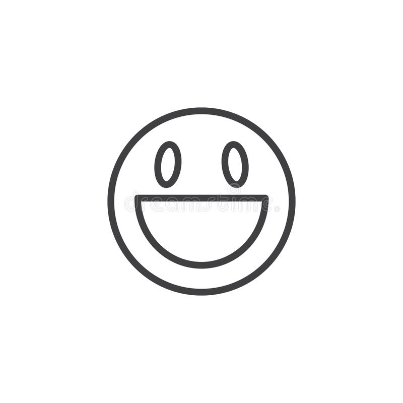 Laughing face Emoji line icon. Linear style sign for mobile concept and web design. Grinning face with open mouth emoticon outline vector icon. Symbol, logo vector illustration