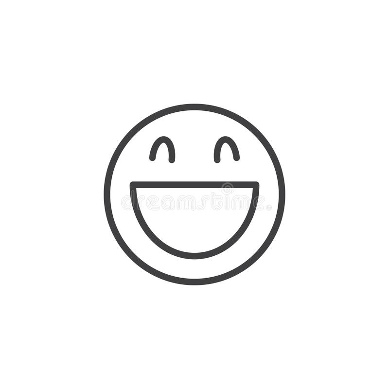 Laughing face emoji line icon. Linear style sign for mobile concept and web design. Happy Smiling Face With Open Mouth emoticon outline vector icon. Symbol vector illustration