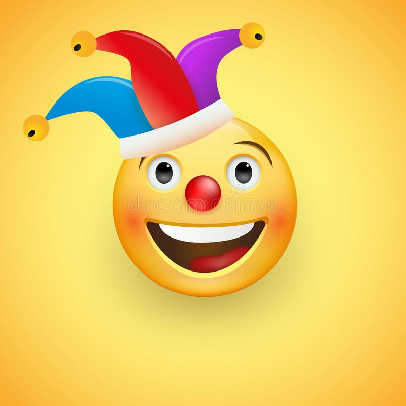 Laughing Face with a red nose in a clown hat. Fool s Day. Happy April, 1. Vector vector illustration