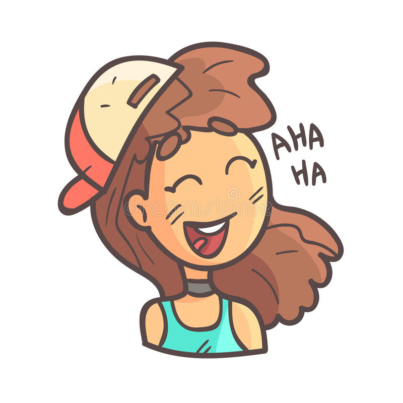 Laughing Girl In Cap, Choker And Blue Top Hand Drawn Emoji Cool Outlined Portrait vector illustration