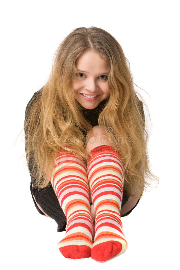 Download Laughing Girl In Funny Socks Stock Image - Image: 7503715