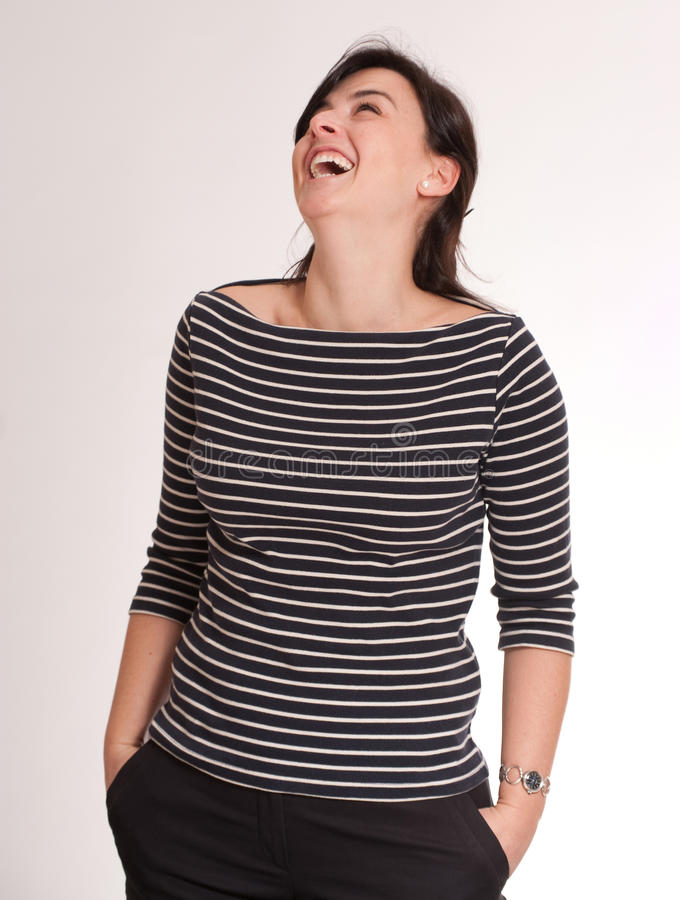 Laughing Girl with a stripped t-shirt royalty free stock photo