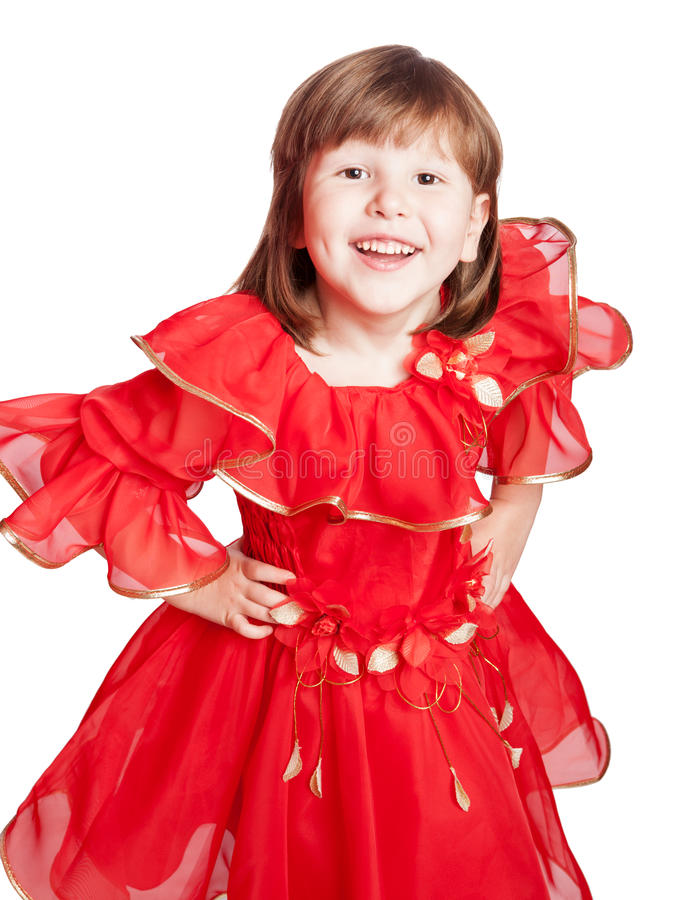 Laughing girl wearing red dress royalty free stock photography