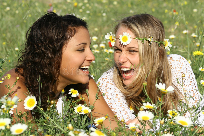 Laughing girls stock photo