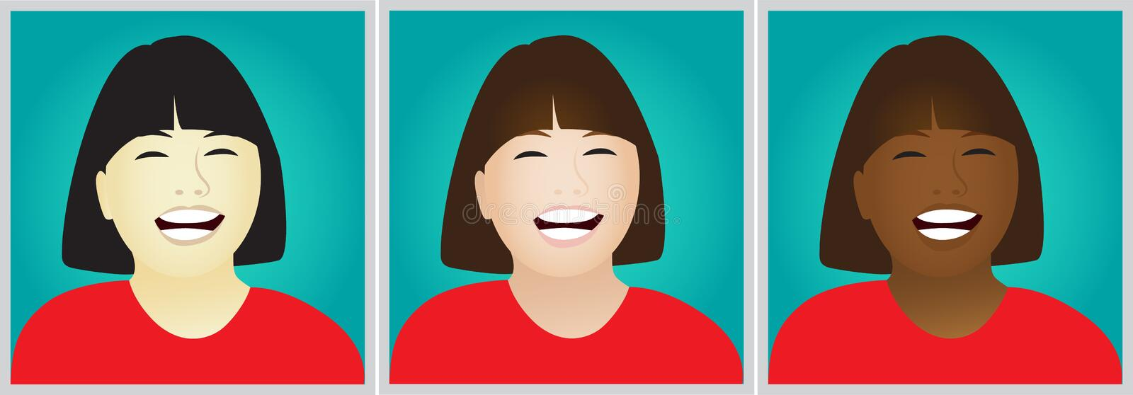 Laughing girls clipart royalty free illustration