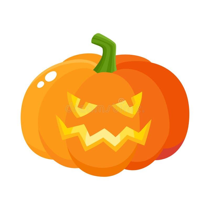 Laughing, grinning pumpkin jack-o-lantern with vampire teeth, Halloween symbol stock illustration