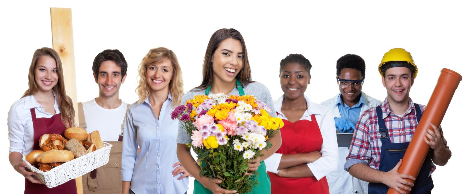 Laughing latin american flower seller with group of international apprentices stock photography