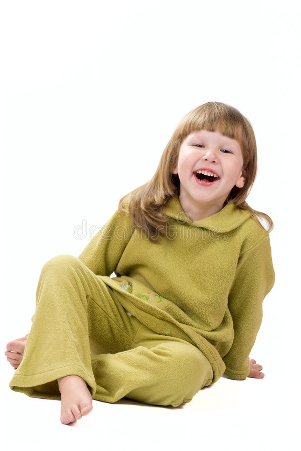 Laughing little girl. Excited laughing little girl isolated royalty free stock image