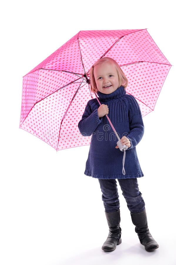 Download Laughing Little Girl Under Pink With Dots Umbrella Royalty Free Stock Images - Image: 18573239