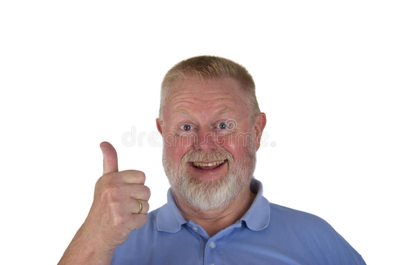 Laughing male senior holding thumbs up stock photos