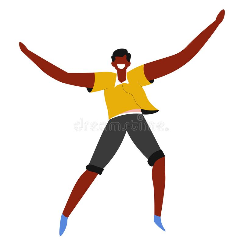 Laughing man jumping, African guy, happiness and freedom vector illustration
