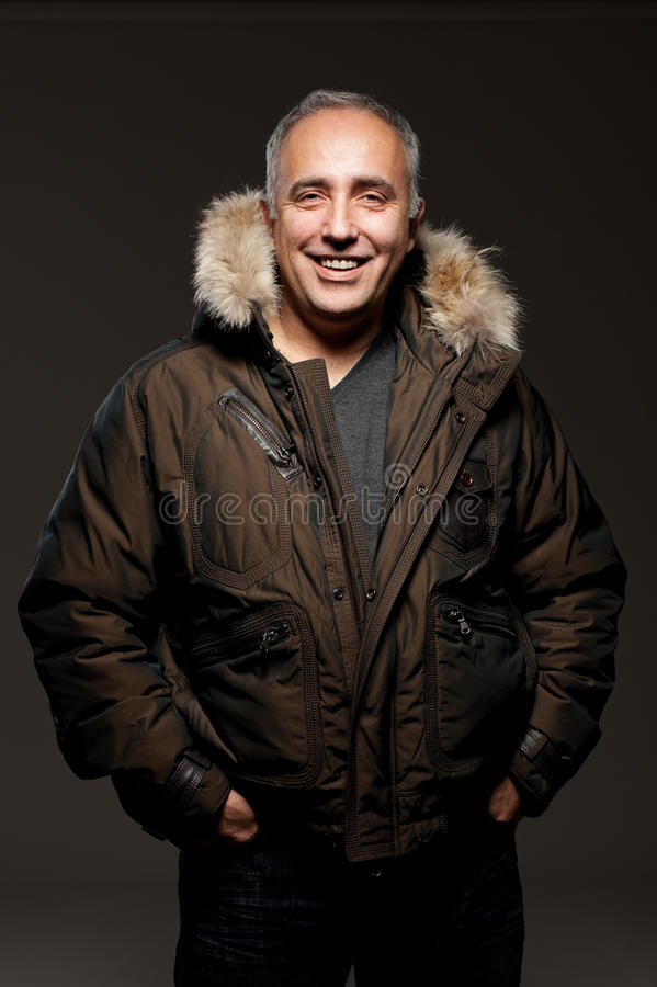 Laughing middle aged man stock photography