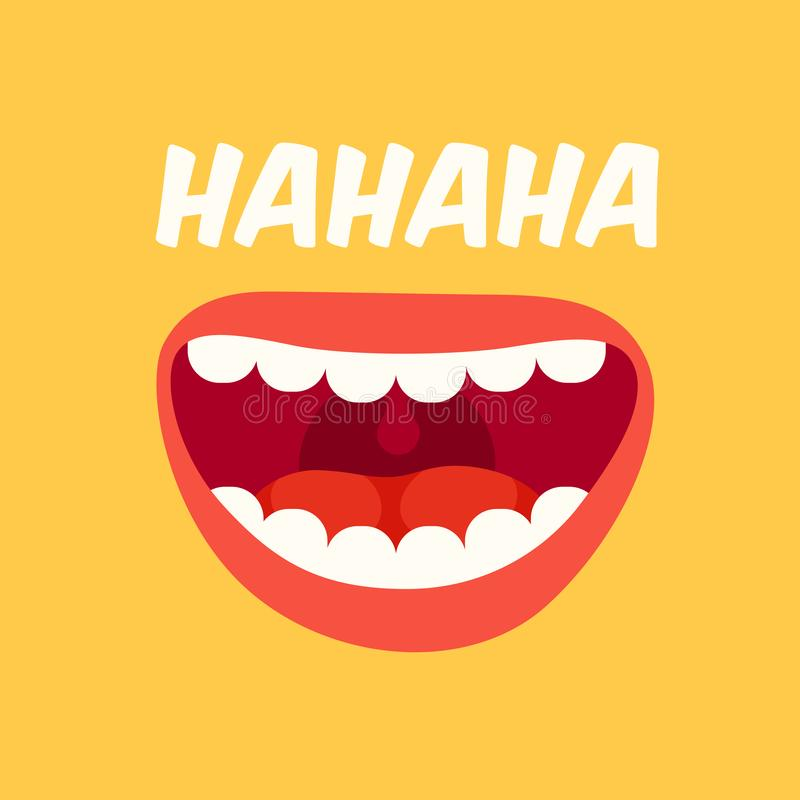 Laughing mouth. April Fools Day. Loud laugh and LOL vector yellow background. Laughing mouth. April Fools Day. Loud laugh and LOL smile face with teeth out royalty free illustration