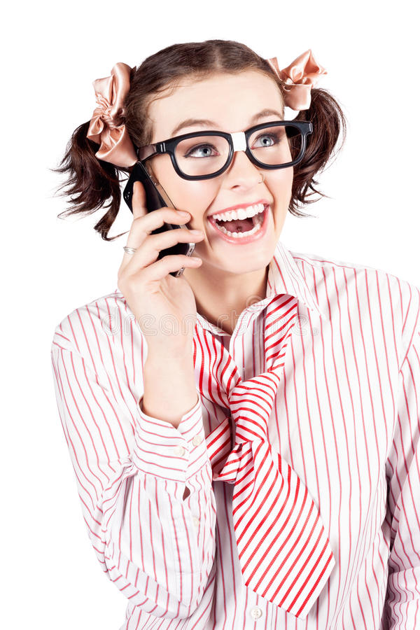 Download Laughing Nerdy Woman On A Smartphone Stock Photo - Image: 28580186