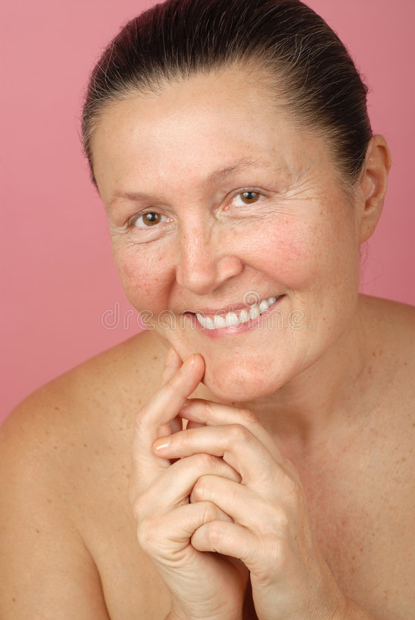 Laughing in the nude stock photo
