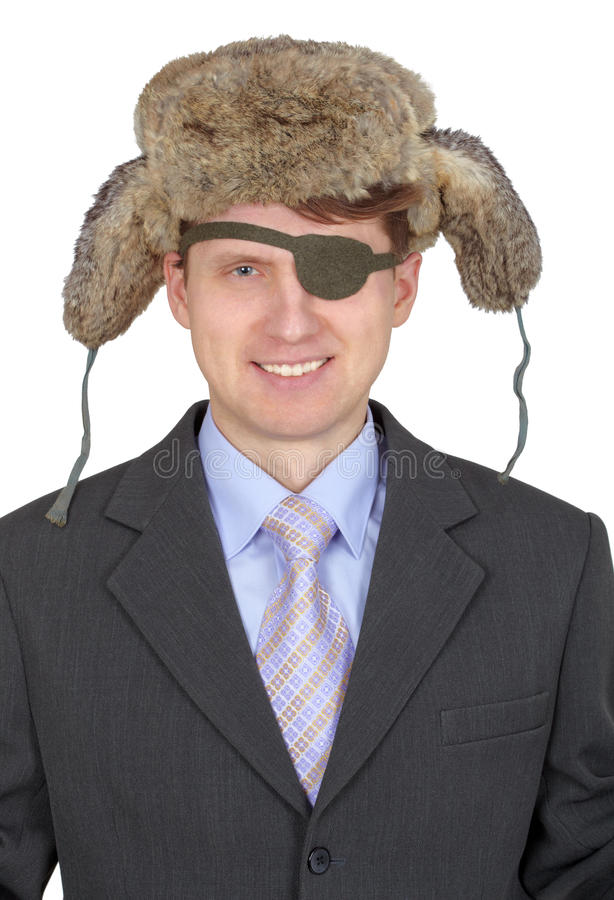 Laughing, One-eyed Man In Fur Hat Stock Photography